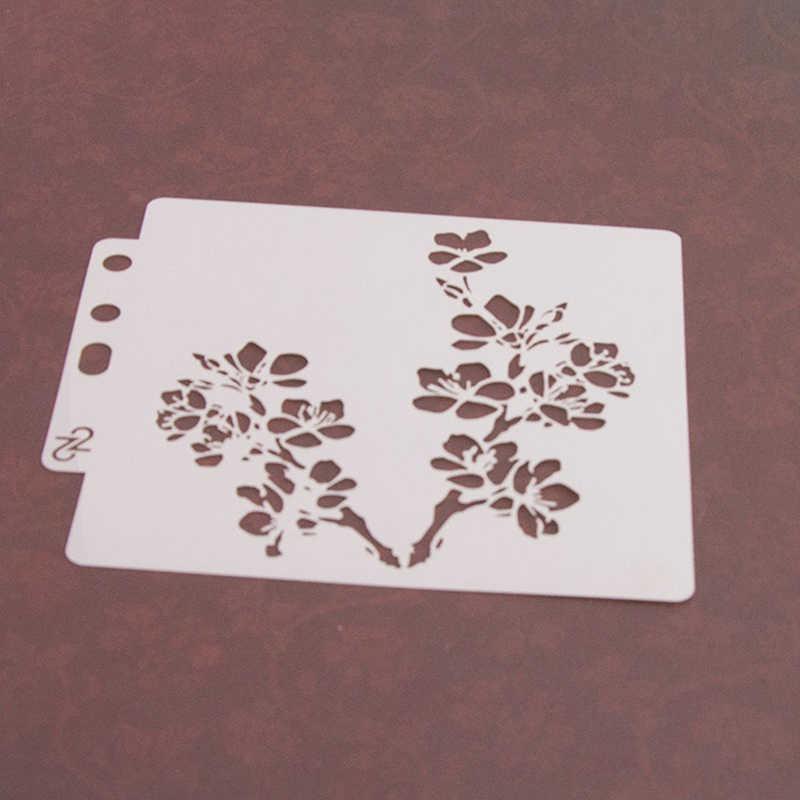 PET Bella Prugna fiore Shap Decorazione Della Torta di Disegno Stencil Stencil Torta di Sugarcraft Della Muffa Della Torta 14*13 centimetri