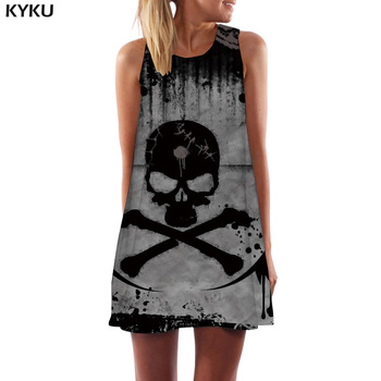 KYKU Skull Dress Women Skeleton Boho Gray 3d Print Ink Office Gothic Beach Womens Clothing Vintage Ladies