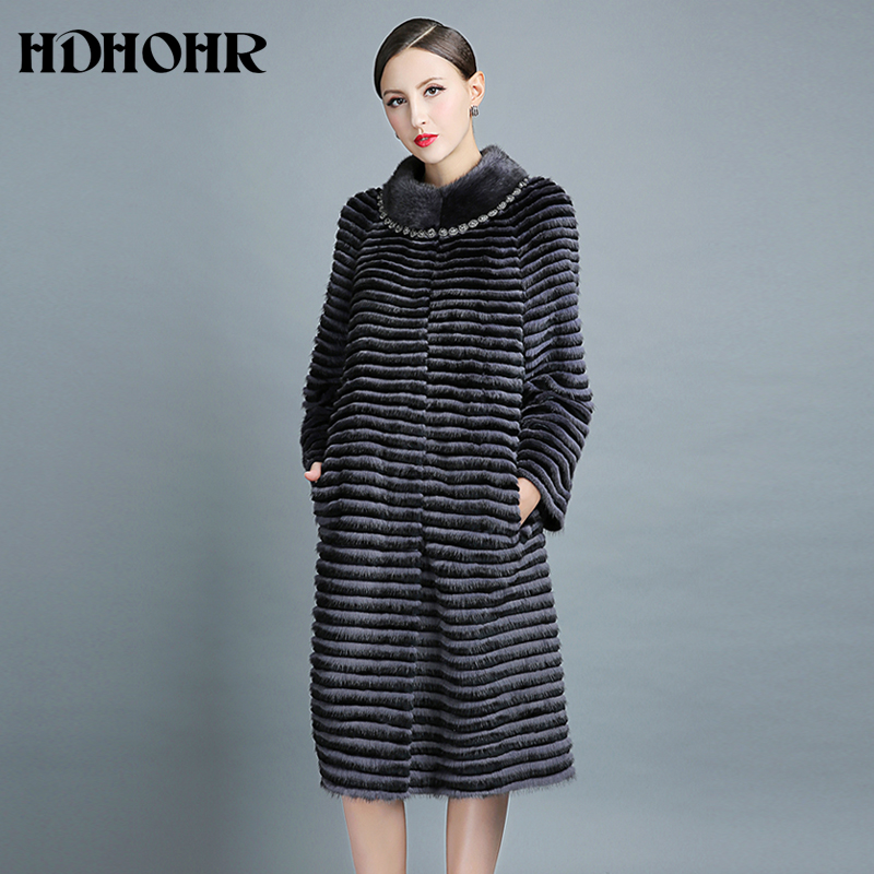 HDHOHR 2019 New Real Fur Coat  Natural Mink Fur Coats With Diamond Genuine Leather Strip Long Jacket Lady Fashion Silm Fur Coat