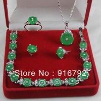 Prett Belle de Mariage des Femmes En Gros joyau vert Naturel Argent Pendentif Bracelet Boucle D'oreille Bague Bijoux set en argent bijoux