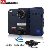 7 дюймов Автомобильный dvr gps Радар детектор Автомобильный грузовик автомобиль Android WiFi AVIN камера заднего вида Парковка DVR видеокамера Bulit в 16 Г