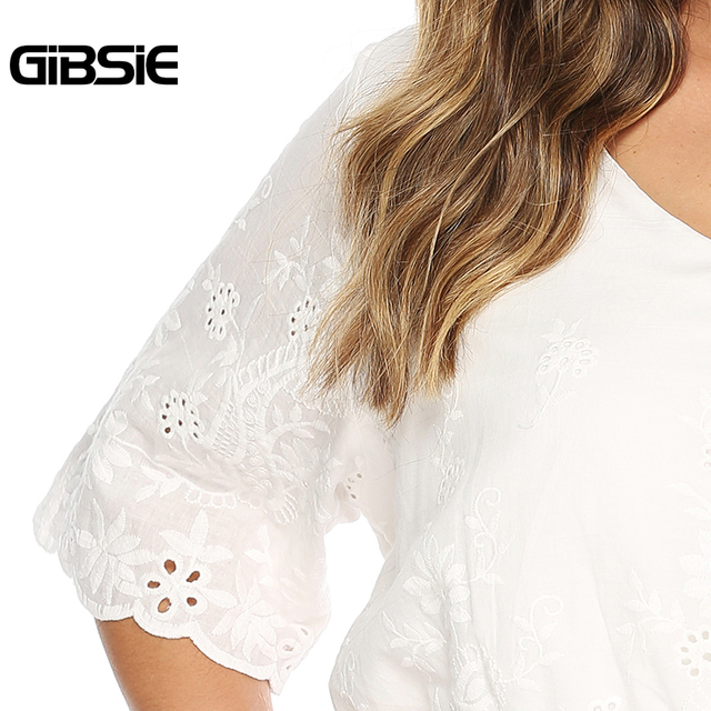 GIBSIE Plus Size Hollow Out Embroidery White Blouse Women's Summer Cotton Peplum Tops V-Neck Half Sleeve Casual Ladies Shirts 3