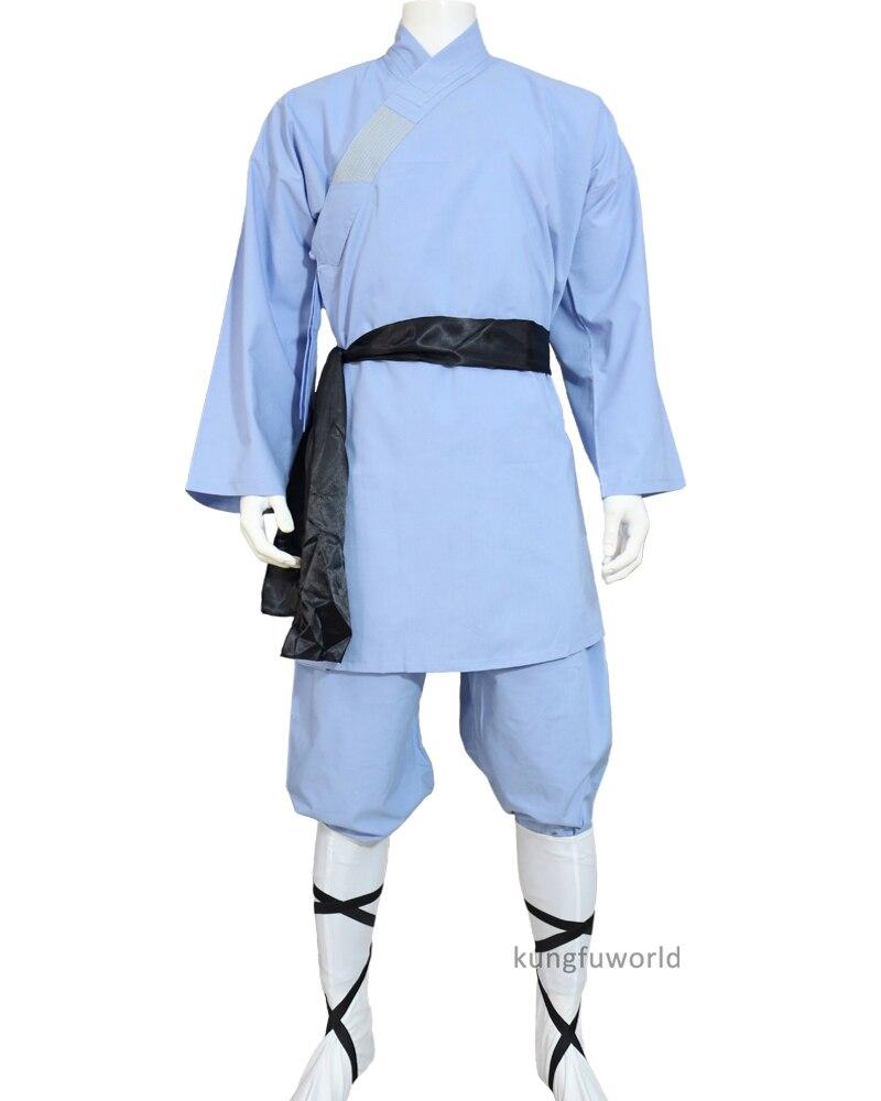 Light Blue Cotton Shaolin Uniform Kung fu Tai chi Suit Martial arts Wing Chun Clothing