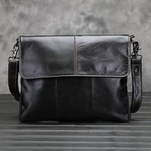 KUNDUI Oil Wax Genuine Leather bag Men Retro Messenger Business Men's Briefcase Designer Handbags High Quality Shoulder Bags