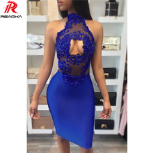 Reaqka Sexy Summer Dress Women 2018 Vintage Party Dresses Club Wear Bodycon Evening Lace Hollow Sleeveless Off Shoulder Dress XL