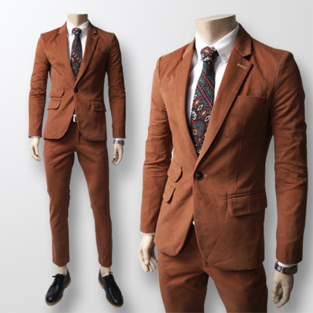 Korean fashion mens brown suit pure water for wedding marry groom ...