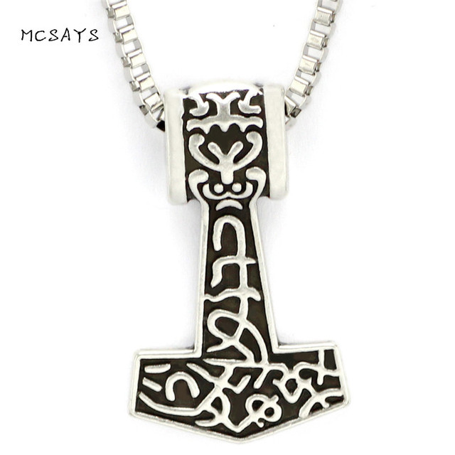 MCSAYS Viking Jewelry Odin Mjolnir Celtic Knots Pendant Silver Color