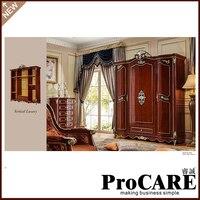 Foshan manufacture Luxury Antique Fancy Solid Wood Bedroom Wardrobe