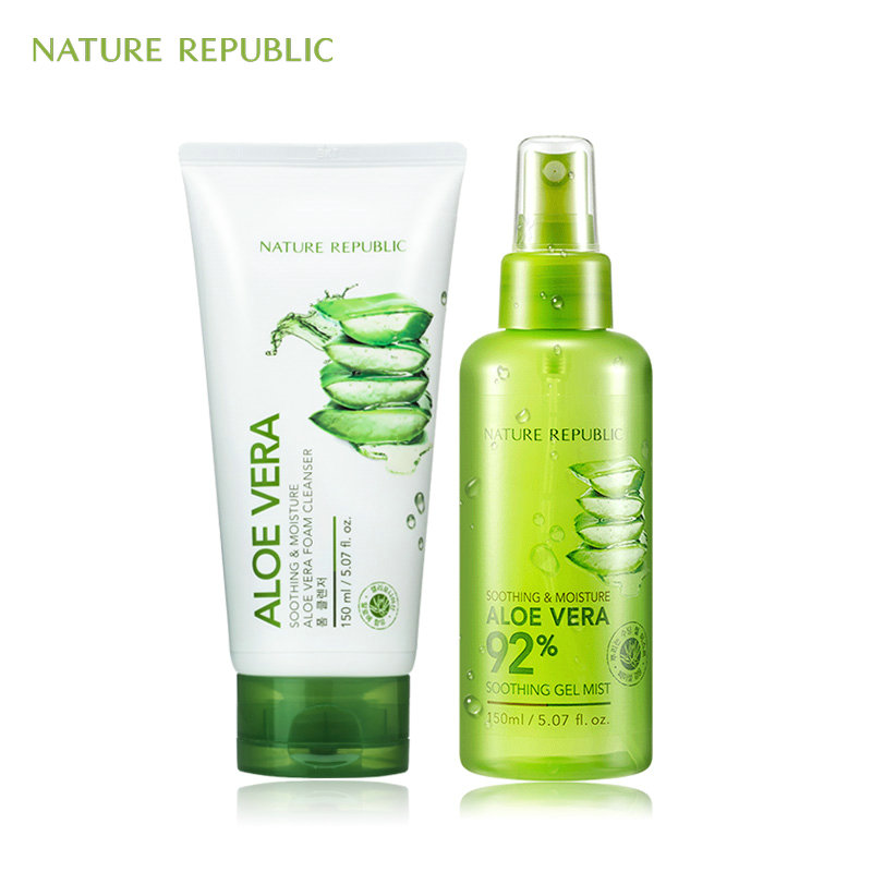 Nature Republic Korean Skin Care Cleaner Moisturizing Set Aloe Mist+Facial Cleanser Oil Control Treatment Acne