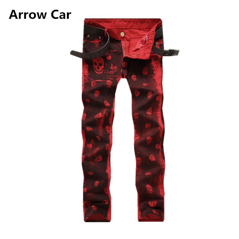 Arrow Car Mens Jeans European style Skull Print Slim Straight Nightclub Mens Trousers Stretch Jeans Men plus size 38 40