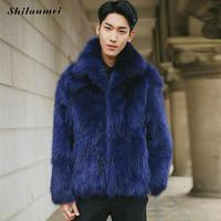 Men Faux Fur Coat 2017 Winter Warm Full Fur Coat Fashion Turn Down Collar Fake Fur