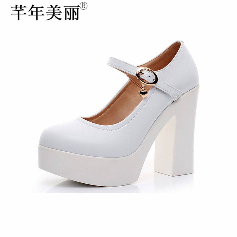 Sapato Feminino Women s Shoes Genuine Leather Platform Super High Heels Mary Janes Shallow Office Lady