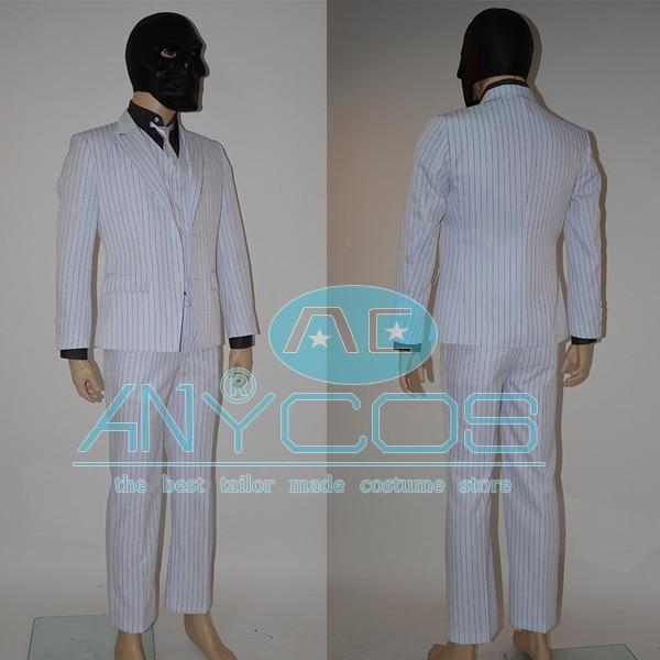 Batman Arkham Origins Roman Sionis Black Mask Stripe Suit Full Set Adult Men Hot Movie Costumes Halloween Cosplay Costume