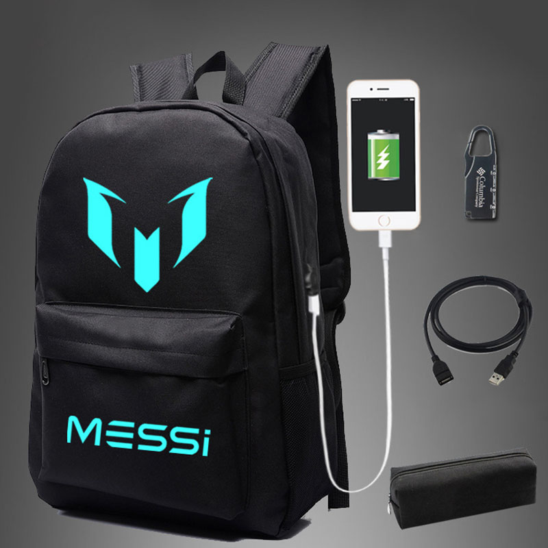 18d2ee578 New Messi Star School Bag noctilucous Luminous backpack student Notebook  backpack Daily Bag With USB Port