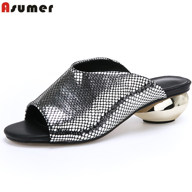 ASUMER Plus size 33 43 New 2019 Women sandals round heels open toe slingback summer shoes