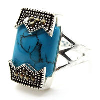 12 20mm Fashion 925 Sterling Silver Natural Blue Marcasite Stone Rings Size 7 8 9 10