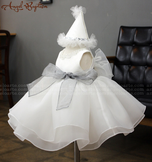 Vintage beaded short tea-length 1 year girl baby birthday organza infant christening dresses baptism gown with silver gray sash