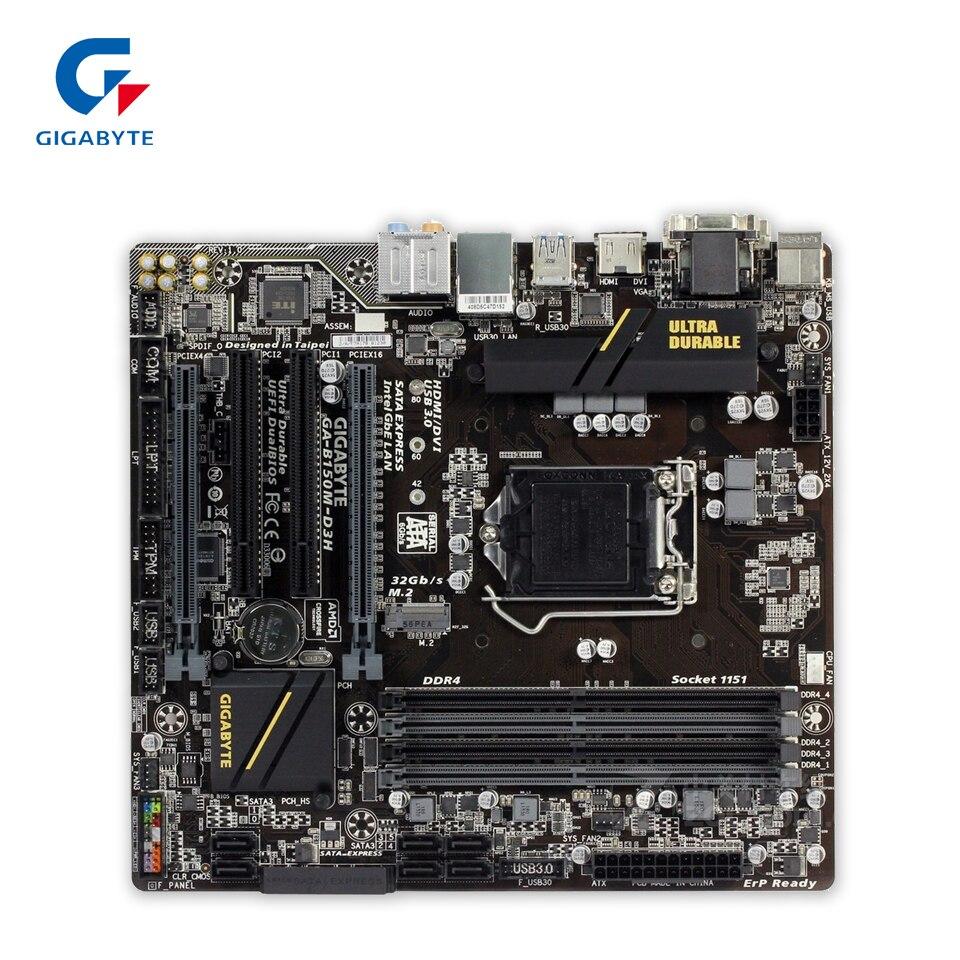 Gigabyte GA-B150M-D3H Original New Desktop Motherboard B150M-D3H B150 LGA 1151 i3 i5 i7 DDR4 64G Micro-ATX
