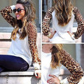 Fashion T-Shirts Women 2016 Sexy Plus Size Slim Patchwork Leopard Spring/Fall Casual Long-Sleeve Shirts Tops Underwear
