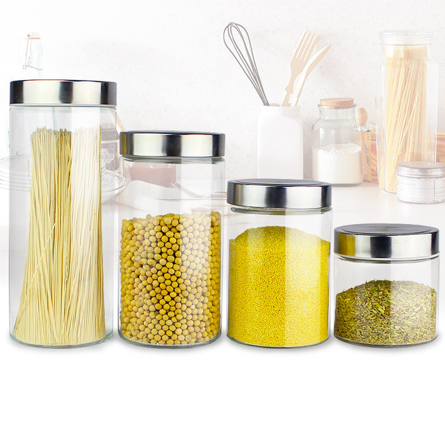 1pcs Food Storage Gl Jar No Lead Kitchen Bottles Sealed Cans With Cover Large Capacity Candy Jars Tea Box