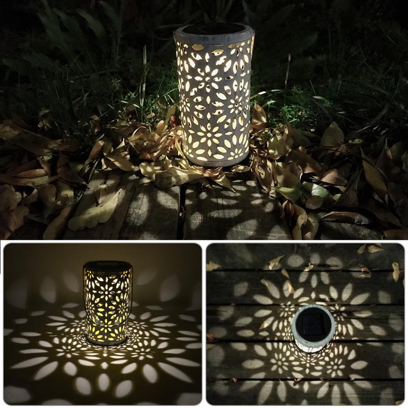 Antique Solar Lantern Atmosphere Light Indoor Table Light Metal Waterproof Outdoor Lawn Garden Landscape Light LED Decor Lamp