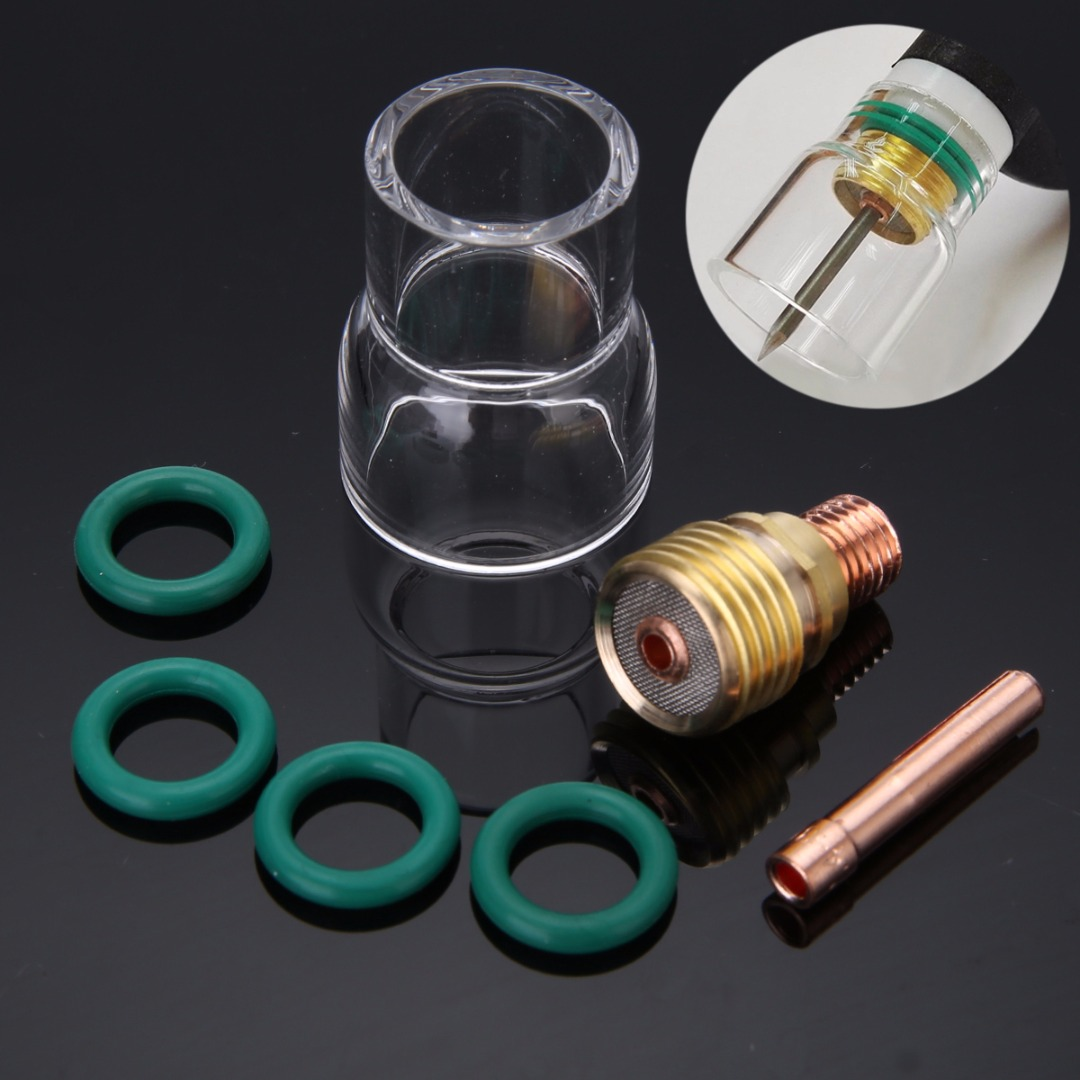 7pcs/set Mayitr Pyrex Welding Cup Torch TIG Welding Stubby Gas Lens #12 Pyrex Cup Kit For WP-9/WP-20/WP-25 Welding Kit Accessory 15pcs tig welding accessories gas lens 12 pyrex cup welding torch kit for 1 16 wp 9 20 25 series