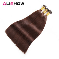 Alishow Pre Bonded Hair Extensions 1g 16 18 20 22 Remy Hair Keratin Human Hair straight Platinum Blonde I Tip Extensions