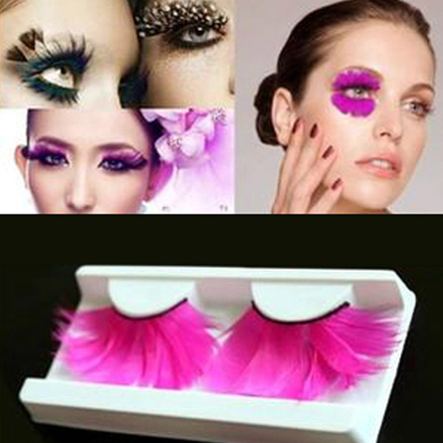 1pair Lengthening Feather False Eyelashes Fashion Halloween Makeup