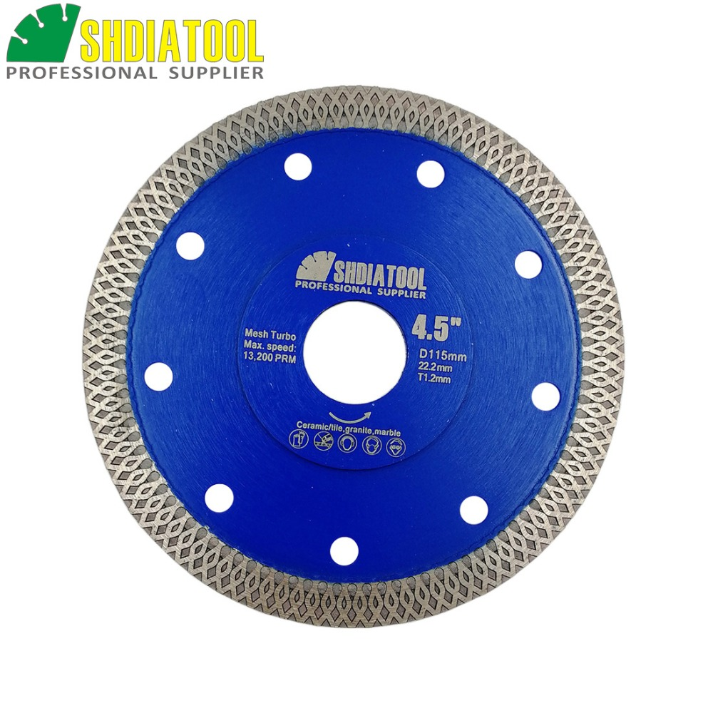 SHDIATOOL 1pc Hot-pressed Sintered Diamond Cutting Disc X Mesh Turbo Rim Segment Circular Saw Blade Dia 4