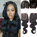 Rosa Hair 8A Brazilian Virgin Hair Lace Closure Naturl Black Body Wave Closure Virgin Human Hair 4x4 Lace Closure Bleached Knots