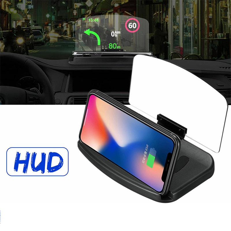 Qi Wireless Charger Car HUD Head Up GPS Navigation Display Bracket Charging Dock