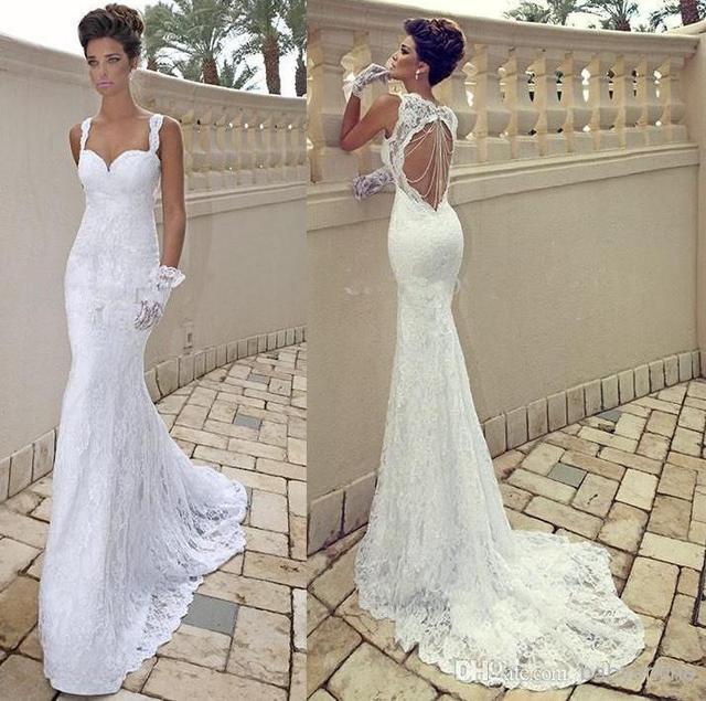 e2841f7fc80 vestido de noiva Sexy Spaghetti Strap Sweetheart Ivory Lace Open Back  Sheath Backless Summer Beach Wedding Dress Bridal Gown