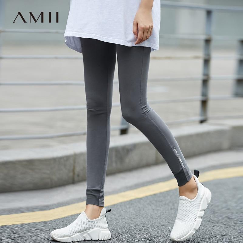 Amii Casual Women Minimalist Legging 2018 Patchwork Print Letter Female Leggings