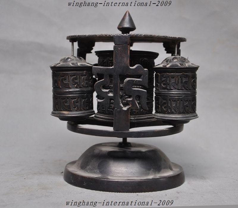 Ancien Tibet Tantra Temple pur bronze Mantras bouddhisme Tripitaka texte prière roue