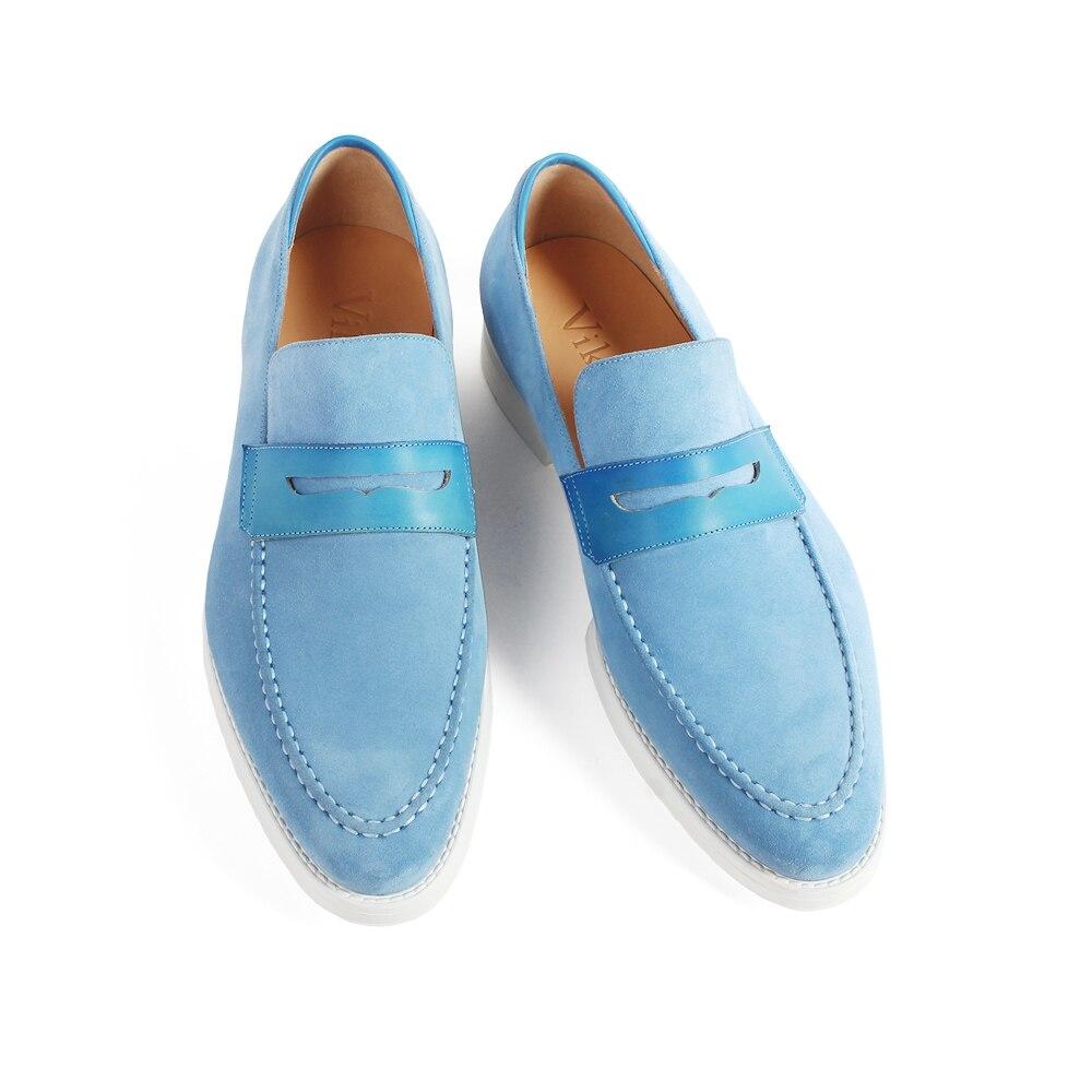 VIKEDUO جديد عارضة البقر المدبوغ الرجال أحذية خفيفة بدون كعب الأزرق الانزلاق على شقة الأزياء الأحذية الذكور العلامة التجارية الزنجار مفصل مخصصة zapatos-في أحذية رجالية غير رسمية من أحذية على  مجموعة 3