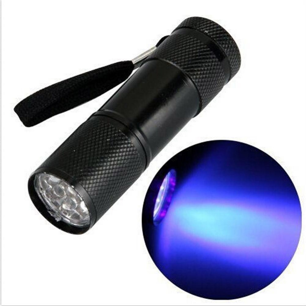 Portable UV Ultra Violet Blacklight 9 LED UV Flashlight Torch Light Lamp Flashlight Black Long LED Lifespan