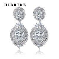 HIBRIDE גדול הגעה חדשה ארוך נשים תליון יהלומים מלאכותיים צבע זהב לבן תכשיטי עגיל לכלה Brinco Pendientes Mujer E-367