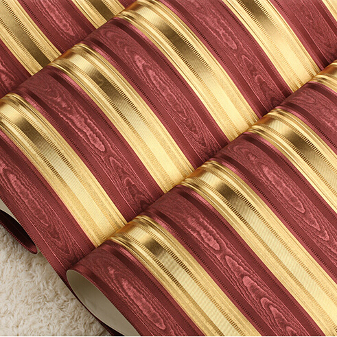 Modern Luxury Gold Striped Wallpaper Embossed Foil Roll Living Room Bedroom Red Brown Wall Paper