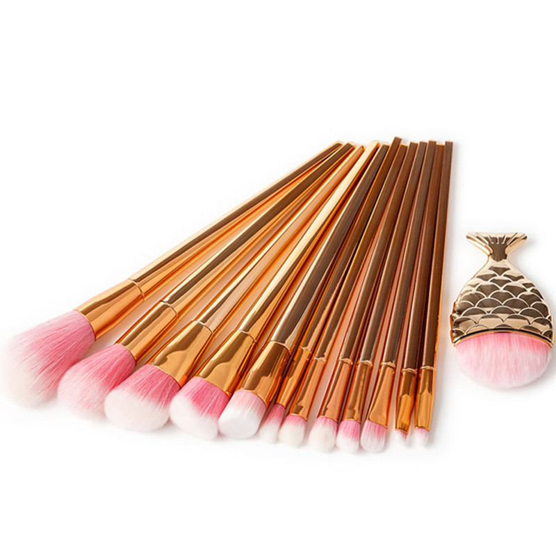 7/13Pcs Rose Gold Makeup Brush Cleaner Pro Face Blending Make Up Brush Concealer Smudge Foundation Powder Coutour Cosmetic Brush
