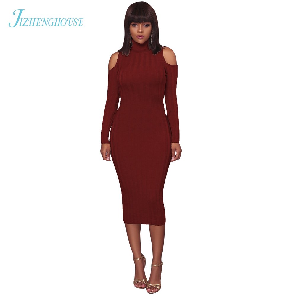 JIZHENGHOUSE Turtleneck Fashion Long Sleeve Slim Bodycon Knitted Party Dress Sexy Club Women Bandage Dress