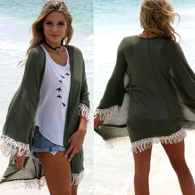 703900470f1 2017 Army green tassel Beach Dress Kaftan Pareo Sexy Cover-Up Chiffon Bikini  Swimwear Tunic Swimsuit Bathing Suit Cover Ups Robe