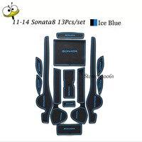 Car Interior Accessories Rubber Auto Luminous Door Pad Anti Slip Cup Holder Mat Cushion For 2011