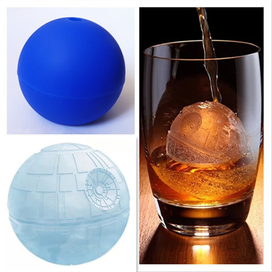 Mofunyo Blue War Death Stars Whiskey Large Spheres Silicone Ice Ball Maker Mold Other Ice Cream Tools