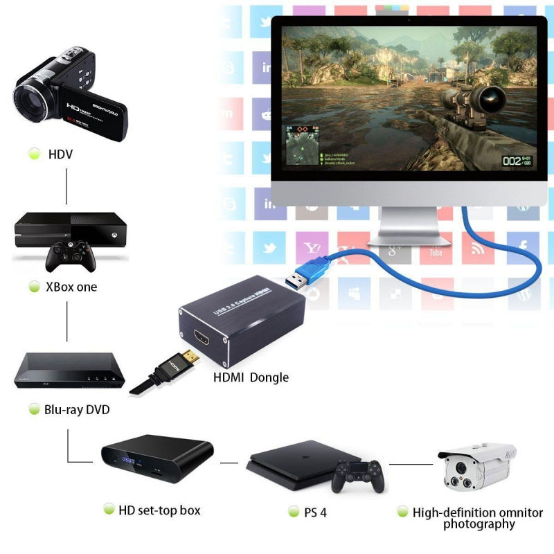 HDMI Video Capture with USB3.0 Dongle 1080P 60FPS Drive-Free Capture Card Box for Windows Linux Os X System 10moons hdv3000e pci e hdmi 720p 1080i digital video capture card green