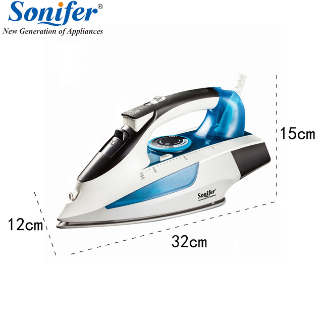 2400W High quality laundry home appliances Electric Steam Iron For Clothes Adjustable Ceramic soleplate iron for ironing Sonifer 2