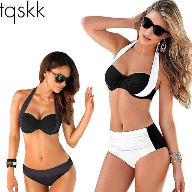 cd72e73582481 TQSKK 2019 Newest Sexy Bikinis Women Swimsuit High Waisted Bathing Suits  Swim Halter Top Push Up Bikini Set Plus Size Swimwear