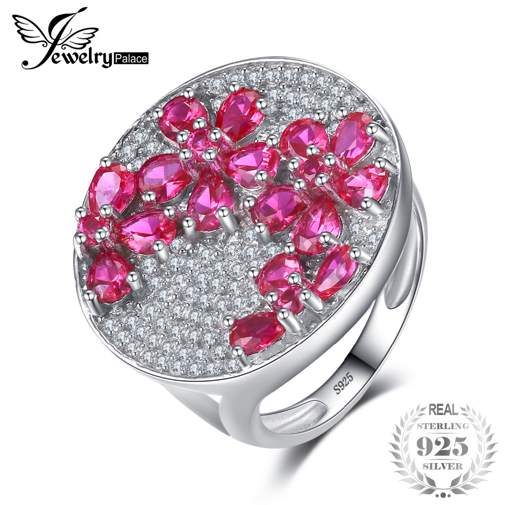 JewelryPalace Flower 3.32ct Pigeon Blood Red Ruby Wedding Ring Solid ...