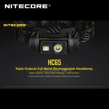 Gagnant dor 2019 prix ISPO Nitecore HC65 CREE XML2 U2 LED 1000 Lumens Triple sortie lampe frontale Rechargeable avec batterie Li ion