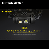 New Arrival Nitecore HC65 CREE XML2 U2 LED 1000 Lumens Triple Output Full Metal Rechargeable Headlamp with 18650 Li ion Battery
