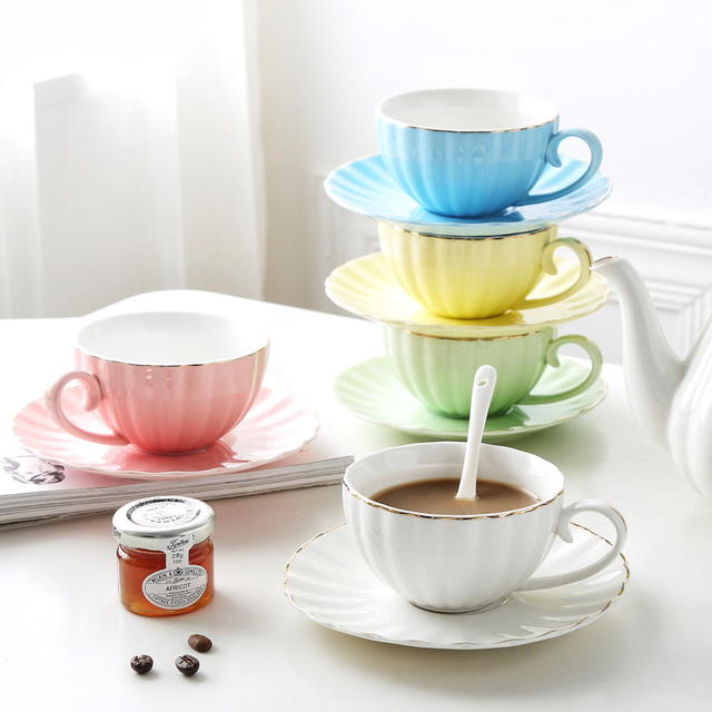 MUZITY Ceramic Coffee Cup Saucers With Spoon Bone China Tea Cup Set Magnificent Decorative Cups And Saucers